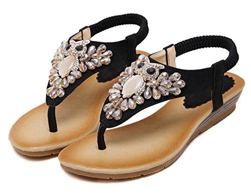 Frauen Sandalen Diamant Hang mit Perlen Sandalen Flip Sandalen und Pantoffeln weiblichen Sommer Sandalen und Pantoffeln Black