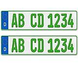 2 x EU Kfz Kennzeichen grün für Traktor Sportanhänger Arbeitsgeräte mit individueller Prägung nach Ihren Vorgaben + KFZ Schein Schutzhülle