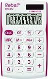 Rebell RE-SHC312 Kleiner Taschenrechner, 12 stelligem Display, weiß/rot