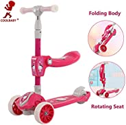 COOLBABY 2 IN 1 Children's Balancing Car 3 Wheel Kick Scooter for Kids Folding Pedal Scooters Outdoor and