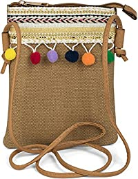 styleBREAKER Minibag Umhängetasche mit Bommel und bunter Schmuck Bordüre im Ethno Style, Schultertasche, Tasche, Damen 02012128