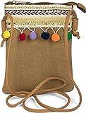 styleBREAKER Minibag Umhängetasche mit Bommel und bunter Schmuck Bordüre im Ethno Style, Schultertasche, Tasche, Damen 02012128, Farbe:Hellbraun