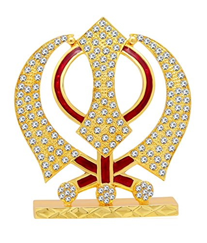GCT Sikh Religious Symbol Khanda Sahib Idol Metal Statue for Car Dashboard | Mandir Pooja Murti |Temple Puja | Home Décor | Office Showpiece