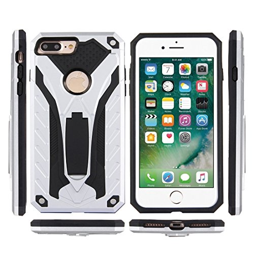 Mobiltelefonhülle - Für iPhone 7 Plus Tough Armor TPU + PC Kombi-Gehäuse mit Halter ( Farbe : Schwarz ) Silber