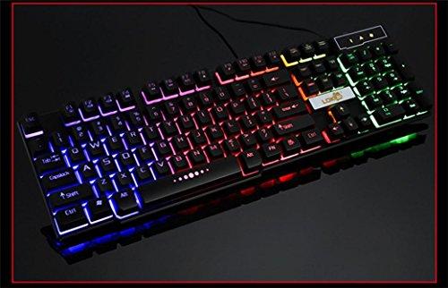 7Farben professionelle Game Tastatur, mamum bunt Crack LED Beleuchteter USB Wired PC Rainbow Gaming Tastatur Einheitsgröße schwarz - 6
