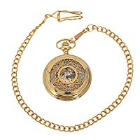 Timagebreze Retro Steampunk Mechanical Pocket Watch Bronze Flower Engraved Fob Chain Package Men Women Flip Watches Skeleton Clock-Gold
