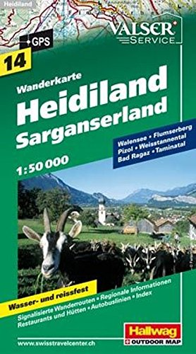 Wanderkarte Heidiland - Sarganserland 1 : 50 000 (Hallwag Wanderkarten)
