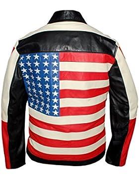 Leatherly Chaqueta de hombre americano Bandera estilo chaqueta de cuero negro