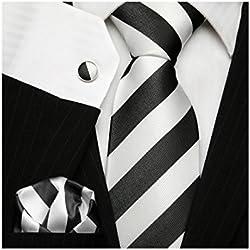 Corbata TNS, clásica a rayas, con gemelos y pañuelo Negro blanco y negro Talla única