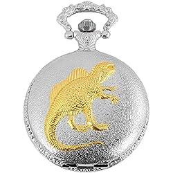 Tavo Lino Analog Reloj de bolsillo con cadena de metal y cierre de gancho en diseño dinosaurios Dino 480712000001bicolor Chasis tamaño 47mm x 15mm con esfera de color blanco y cristal mineral.