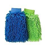 MeFe Mikrofaser Auto Waschhandschuhe Reinigung Handschuhe, 2Pack–ultrasoftes kratzfrei Doppelseitiges Finger Bürste für Auto Fenster Waschen Home–sortierte Farben