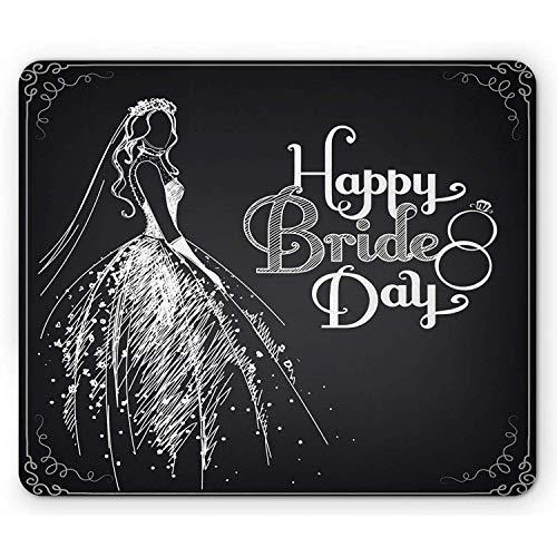 Brautdusche Mauspad Skizze Kunstwerk mit Einer Braut in einem Brautkleid Vintage Style Print Rechteck rutschfeste Mousepad Standardgröße