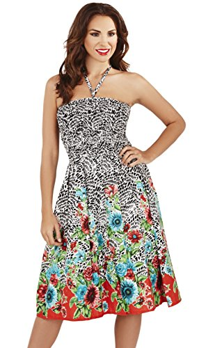 Ladies Sunflower/Mosaic Print 3 in 1 Summer Bandeau Dress/Maxi Skirt, Black/Red, Small