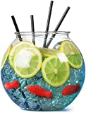 Plastic Cocktail Fish Bowl 3ltr / 18.5cm - Single   bar@drinkstuff Party Fishbowl   Diameter: 185mm   Non-Decorative Clear Fishbowl (Props not included)