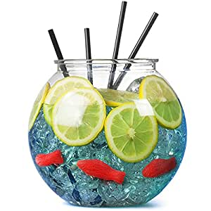 Plastic Cocktail Fish Bowl 3ltr / 18.5cm - Single | bar@drinkstuff Party Fishbowl | Diameter: 185mm | Non-Decorative Clear Fishbowl (Props not included)