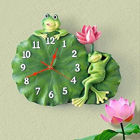 Jack Mall- art déco horloge chambre salon chambre horloge murale résine grenouille mute feuille de lotus enfants Pastoral horloge