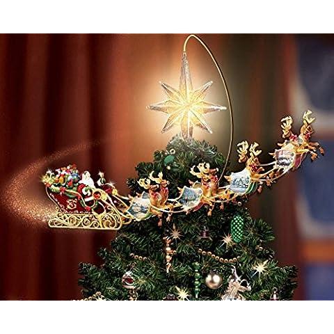 Van Eyck Albero di Natale stella Renna sleighs Thomas Kinkade Disney Dreams pittura stampa su tela da parete per soggiorno casa decorazioni, Tessuto, Christmas 1, 50 x 40