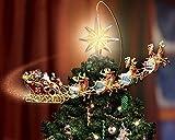 """Van Eyck, stampa su tela, per decorare le pareti di casa e soggiorno, soggetto """"Albero di natale con stella natalizia e slitta di Babbo Natale con renne"""", Tessuto, Multi, 50 x 40"""