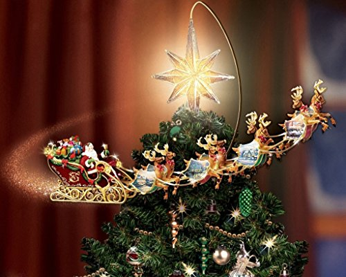 Van Eyck Christmas Tree Star Reindeer Sleighs by Thomas Kinkade Disney Dreams Painting Prints on Canvas Wall Art Picture for Living Room Home Decorations