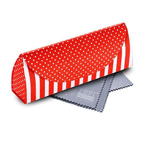 FEFI schickes Brillenetui mit Stoffbezug im Streifen-/Pepita-Design - mit Magnetverschluss und weichem Innenfutter - Hardcase - inklusive hochwertigem Brillenputztuch/Microfasertuch (Rot) (Punkt-magnete)