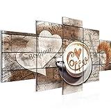 Bilder Kaffee Küche Wandbild 200 x 100 cm Vlies - Leinwand Bild XXL Format Wandbilder Wohnzimmer Wohnung Deko Kunstdrucke Braun 5 Teilig - MADE IN GERMANY - Fertig zum Aufhängen 012851b