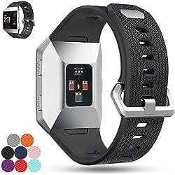 Correa de repuesto para Fitbit Ionic iFeeker, correa de silicona suave, correa de silicona para reloj inteligente Fitbit Ionic, color negro