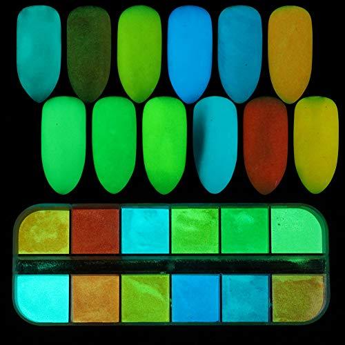 (Austinstore Glow in Dark Nail Glitter Powder DIY Maniküre Tips Luminous Pigment Dekoration für Party)