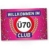 DankeDir! Ü70 Club - Kunststoff Schild (Rosa), Geschenk 70. Geburtstag, Geschenkidee Geburtstagsgeschenk Siebzigsten, Geburtstagsdeko/Partydeko / Party Zubehör/Geburtstagskarte