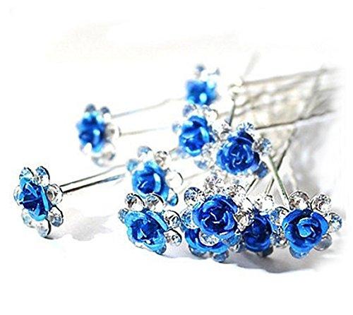 Accessoires cheveux coiffure mariage 1 lot de 5 épingles à chignon fleur à strass bleu roi