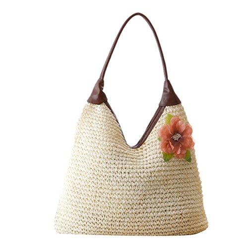 Zhuhaitf Hot ventes High Quality Womens Leisure Flower PU Woven Beach Handle Shoulder Bags Temperament Package white