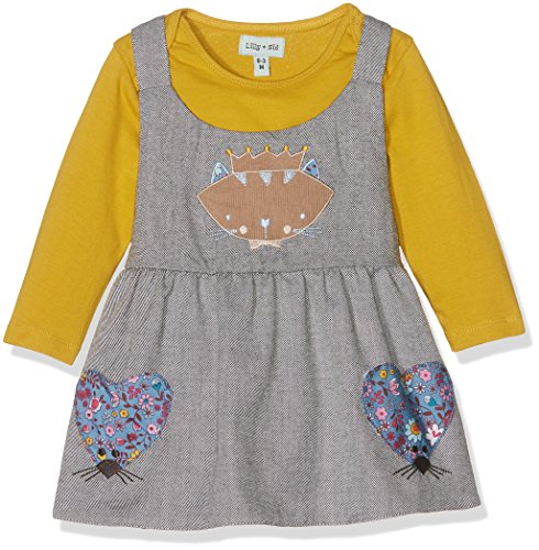 Lilly and Sid Baby-Mädchen Kleid Flannel Mouse Pini Set, Grau (Grey 004), 0-3 Monate
