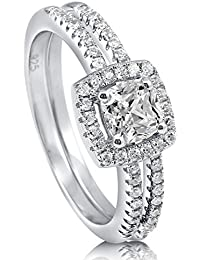 BERRICLE Rhodium Plated Sterling Silver Cushion Cut Cubic Zirconia CZ Halo Engagement Ring Set