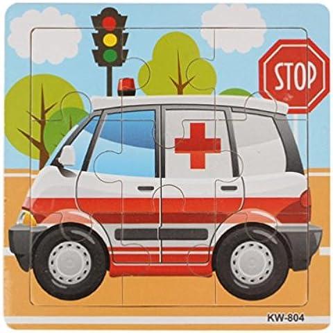 Ambulanza puzzle di legno, FEITONG bambini Bambini Jigsaw Istruzione e apprendimento Giocattoli