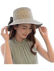 LKMNJ La Sra. Sun Sombreros Sombreros Sombrero de Paja pescador Pajarita Playa decoración ,AZUL