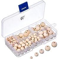 150 Piezas Set de Cuentas de Madera Redondas Naturales con Caja para Elaboración de Joyería de DIY, 5 Tamaños (6 mm/ 8 mm/ 10 mm/ 12 mm/ 14 mm)