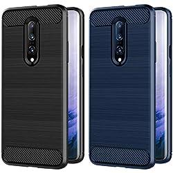 VGUARD [Pack de 2] Coque pour OnePlus 7 Pro/OnePlus 7 Pro 5G, Silicone en Gel Souple Housse Etui Fibre de Carbone Coque de Protection pour OnePlus 7 Pro/OnePlus 7 Pro 5G - (Noir +Bleu)