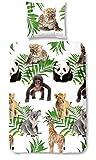 Aminata Kids - Kinder-Bettwäsche-Set 135-x-200 cm Zoo-Tier-e-Motiv Safari Waldtier-e Dschungel Panda-Bär 100-% Baumwolle Renforce bunt-e Weiss-e Gruen-e