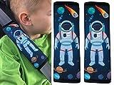 HECKBO 2x protège-ceintures Astronaut Espace voiture, ceinture de sécurité, protection épaule, coussin pour épaule, épaulière, siège enfant, siège auto, siège vélo enfants garçons garçon