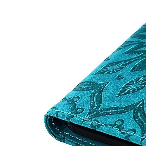 Flip Coque pour iPhone X / iPhone 10 5.8 Pouces PU Cuir Étui Motif Amour Coeur et Smile Housse Couverture Couleur Unie Wallet Amovible Étui Bookstyle Détachable Cover avec Support et Cartes Slots pour Mandala-Bleu