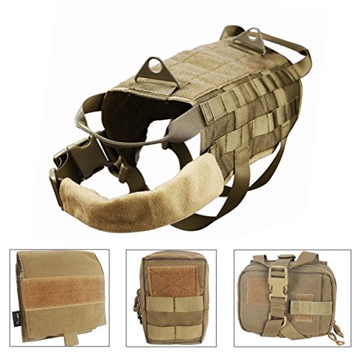 Outdoor-geschirr Hund (Outdoor 1000D Nylon Hund Training MOLLE Weste Jagd Combat Geschirr Langlebig Verstellbare Hundeleine Multifunktions Weste mit 3Hilfe Beutel)
