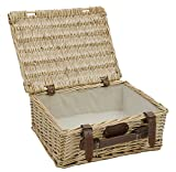 Picknick-Korb, leer, mit Stoff, beige