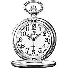 KS Reloj de Bolsillo con Cadena Hombres Mujer Antiguo Reloj Colgante Cuarzo analógico con Caja de
