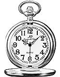 KS KSP002-Orologio da taschino meccanico da uomo, orologio al quarzo a cipolla vintage con cassa in argento