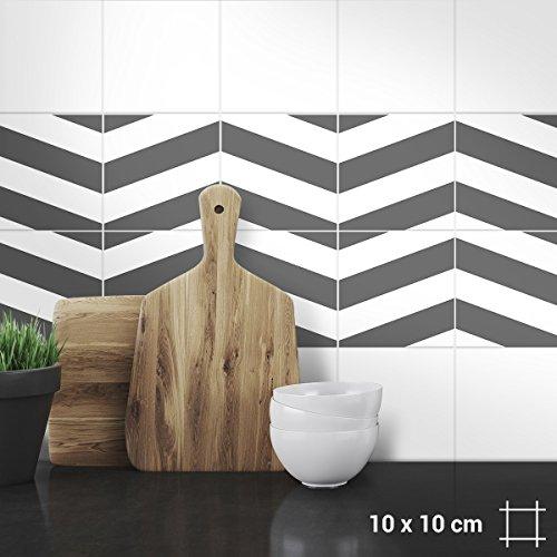 """Wandkings Fliesenaufkleber 4er Set - Wähle ein Muster & Größe - """"Zickzack"""" - 10 x 10 cm - Farbe: Grau"""