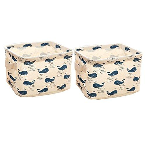 itemer 2Cute Wal Pattern Lagerung Organizer Schreibtisch Regalen Ordentlich Halter Leinen Baumwolle Stauraum Kisten Kosmetik Toys Cubes - Groß Pet-kiste-tisch