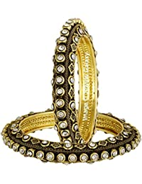 Jewels Galaxy Exclusive American Diamond Antique Designer Stunning Gold Plated Bangles - Set Of 2