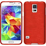 PhoneNatic Case für Samsung Galaxy S5 Hülle Silikon rot brushed Cover Galaxy S5 Tasche Case