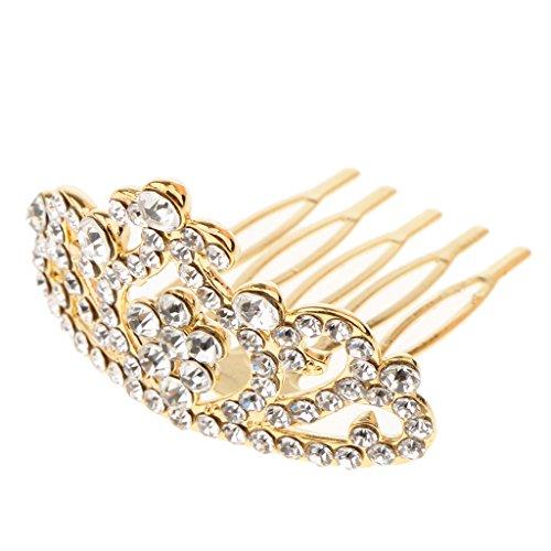 D DOLITY Mädchen Prinzessin Krone Tiara mit Kamm, geeignet für Geburtstag Bankett und Alltag - Gold