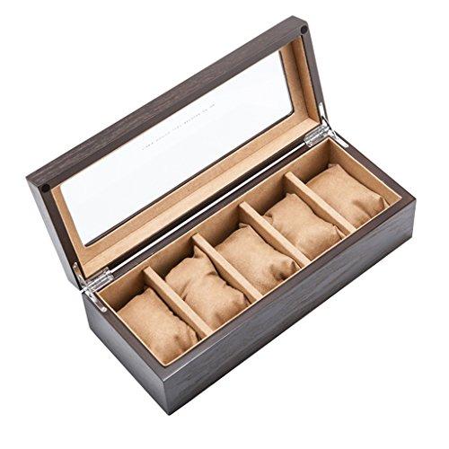 Holz Uhrenbox Glas Schiebedach 5 Gürtel Braun Uhren Display Aufbewahrungskoffer Mechanische Uhr Display Boxen für Schmuck Armband Sammlungen (Glas-rand Beendet)