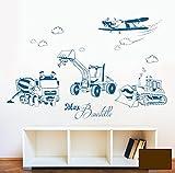 Adhesivo decorativo para pared, diseño de coches Vehículos de construcción construcción excavadora mezclador oruga y avión con grabado de nombres m1733, marrón chocolate, XXL - 146cm breit x 100cm